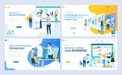 Set of landing page template for project management, business, workflow and consulting. Modern vector illustration flat concepts decorated people character for website and mobile website development.