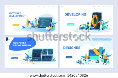 Set of landing page template for Software, Developing, Designer, Programming. Modern vector illustration flat concepts decorated people character for website and mobile website development.