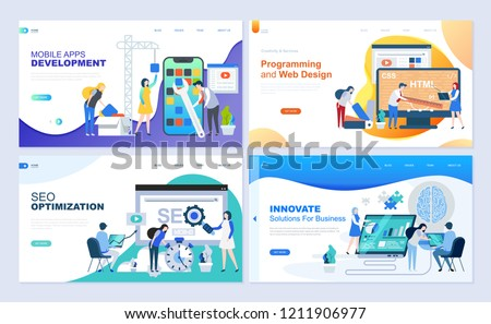 Set of landing page template for web development, SEO, mobile apps, business solutions. Modern vector illustration flat concepts decorated people character for website and mobile website development. - Shutterstock ID 1211906977