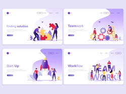 Set of Landing page templates. Business service app, team work, start up, solution, workflow. Flat vector illustration concepts for a web page or website