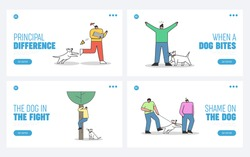 Set of landing pages with dogs attacking human. Aggressive dogs biting and barking on people on white background. Homeless canine danger concept. Flat design vector illustration