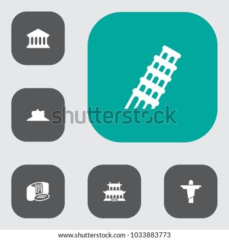 set of 6 landmarks icons set