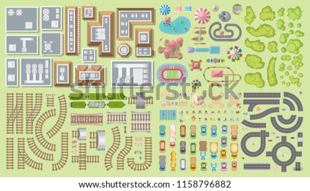 Set of landscape elements. City. (Top view) Railroad, houses, buildings, attractions, road, cars, people, trees. (View from above)