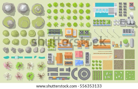 Set of landscape elements. Green city and farm. (View from above) Mountains, hills, trees, houses, buildings, road, solar panels, wind turbines, agricultural fields. (Top view)