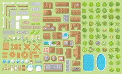 Set of landscape elements. Houses, architectural elements, furniture, plants. Top view. Fences, paths, lights, furniture, houses, trees, pools. View from above.