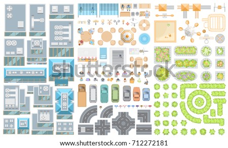 Set of landscape elements. Houses, architectural elements, furniture, plants. Top view. Road, cars, people, furniture, houses, playground, flowerbed. View from above.