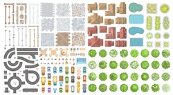 Set of landscape elements. Houses, architectural elements, plants. Top view. Road, cars, people, houses, trees, fence, tile. View from above.
