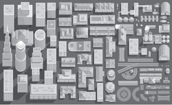 Set of landscape elements in shades of gray. City, transport, factories. (Top view) Skyscrapers, buildings, houses, roofs, plants, roads, railways. (View from above)