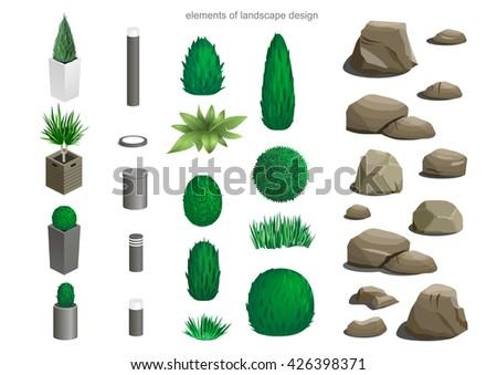 set of landscape elements lamps