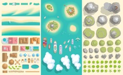 Set of landscape elements. Summer vacation. Tropical islands. (top view) Beach, island, houses, ships, mountains, hills, rocks, trees, plants. (view from above)