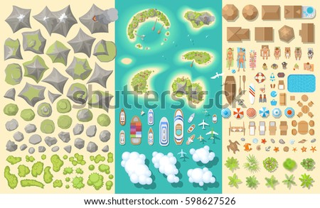 Set Of Landscape Elements Summer Vacation Tropical Islands Top View Mountains
