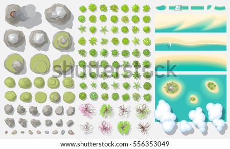 set of landscape elements  top