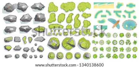 set of landscape elements  top