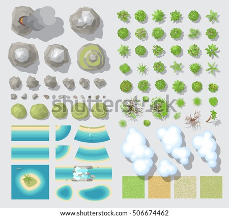 Set of landscape elements. (Top view)\ Mountains, rocks, hills, river, beach, trees, clouds. (View from above)