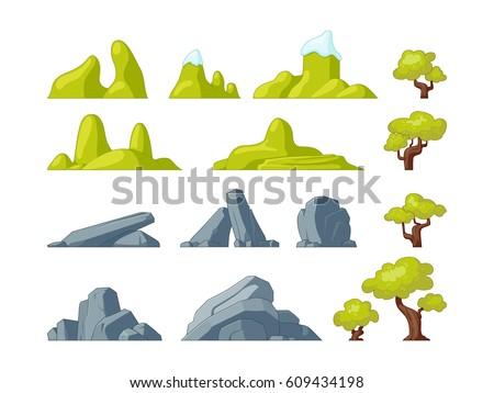 set of landscape elements trees