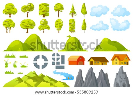 set of landscape elements trees