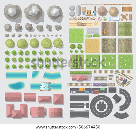 Set of landscape elements. Village. (Top view)\ Mountains, hills, trees, farm, field, house, river, road, railway. (View from above)