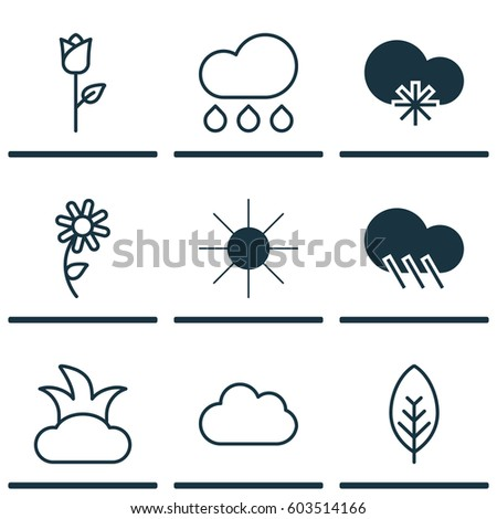set of 9 landscape icons