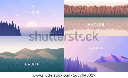 set of 4 landscapes in flat