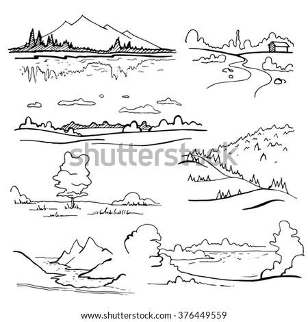set of landscapes on white
