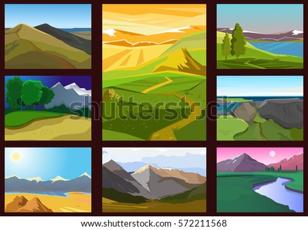 Set of landscapes with mountains and lakes. Vector cartoon illustration