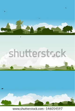 set of landscapes with trees