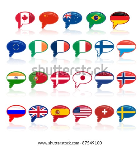 set of  language bubble with flags, vector