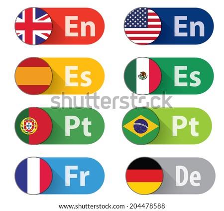 set of 8 language buttons  flat