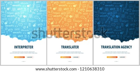 Set of Language Translator banners with hand-draw doodle on the background. Concept of translating agency and interpreting