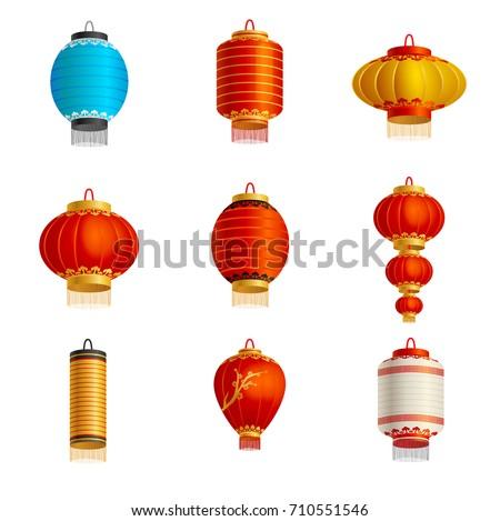 set of lanterns realistic
