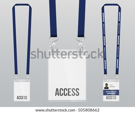 Set of lanyard and badge. Double closing piece of metal. Plastic badge. Template for presentation of their design. realistic vector illustration.