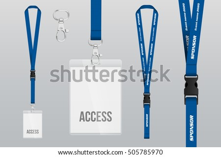 Set of lanyard and badge. Metal piece. Plastic badge. Template for presentation of their design. realistic vector illustration. #505785970