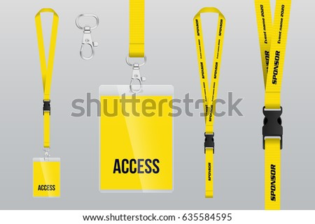 Set of lanyard and badge. Metal piece. Plastic badge. Template for presentation of their design. realistic vector illustration.