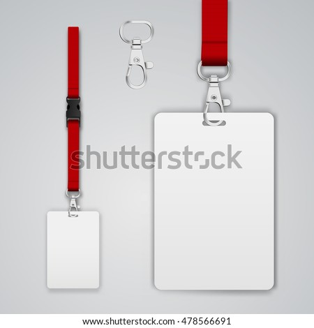 Set of lanyard and badge. Open and closed metal part. Template vector illustration.