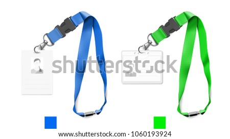Set of lanyards with id card. Vector illustration on white background. Ready mockup to use for for presentations, conferences and other business situations. EPS10.
