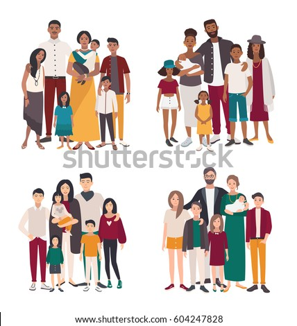 Set of large family portrait. Different nationalities: african, indian, european, asian mother, father and five children. Happy people with relatives. Colorful flat vector illustration.
