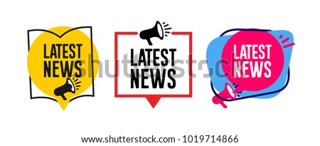 Set of Latest news megaphone label. Vector illustration. Isolated on white background