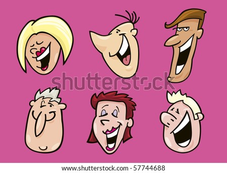 laughing face clip art. stock vector : set of laughing