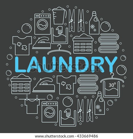 set of laundry icons round