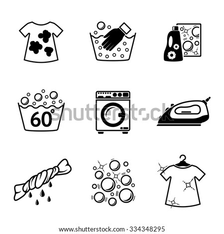 set of laundry icons with