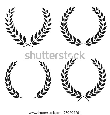Set of laurel wreaths vectors of different shapes isolated on white background