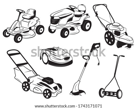 Set of lawn mowers. Collection of silhouettes of lawn mowing equipment. Means for cleanliness of the lawn. Mowing grass. Vector illustration on a white background.