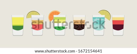 set of layered cocktails and