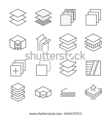 Set of layered material Related Vector Line Icons. Contains such icon as layers, coating, cover, thickness, stratum, sheet material