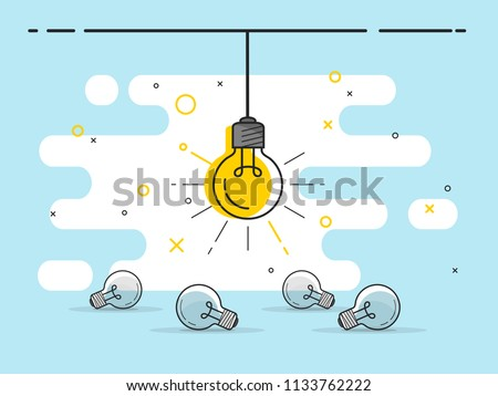 Set of laying light bulbs with one hanging and glowing. Trendy flat vector light bulb icons with concept of idea on blue background.
