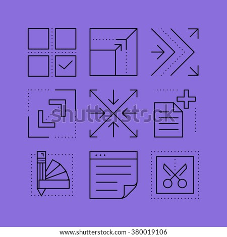 Set of layout line vectors icons in the flat style.