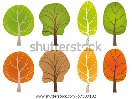 Set of  leafy trees in a summer and a fall coat.