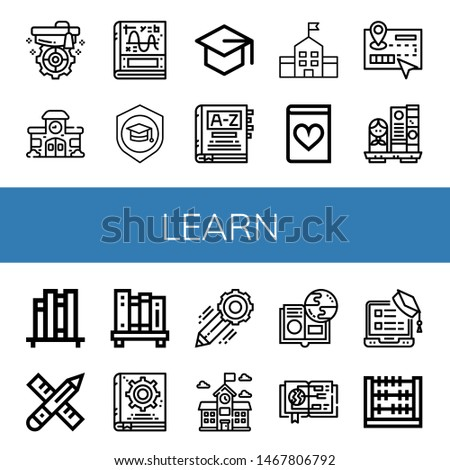 Set of learn icons such as Mortarboard, School, Calculus, Dictionary, Romantic novel, Guide, Bookshelf, Book shelf, Pencil, Manual book, Online learning, Abacus , learn