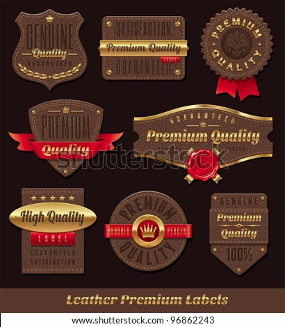 Set of leather & gold premium quality labels and emblems