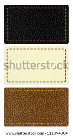 Set of leather labels - stock vector